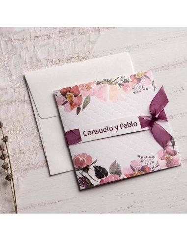 Invitación de boda con lazo