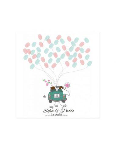 Árbol de huellas para boda coche de novios