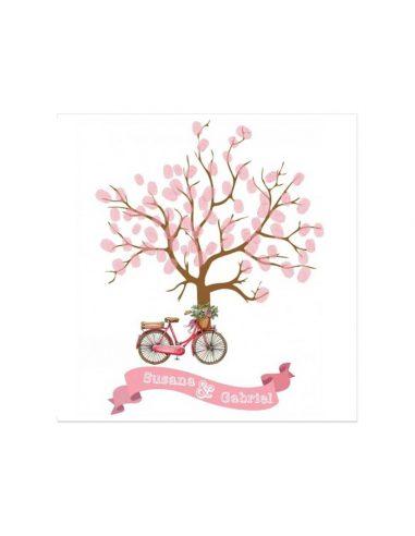Árbol de huellas para boda de bicicleta y flores