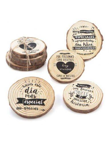 Posavasos de madera con frases