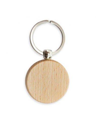 Llavero de madera circular