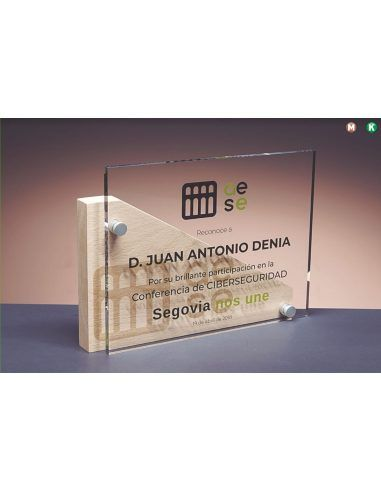 Placa rectangular de metacrilato y madera