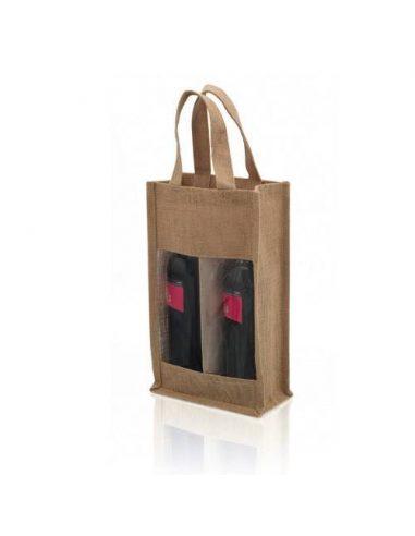 Bolsa de yute para dos botellas de vino