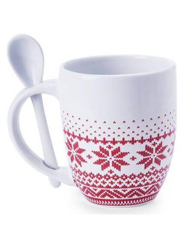 Taza de Navidad estilo nórdico con cuchara