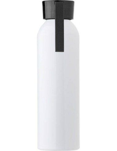 Botella de aluminio blanco brillante