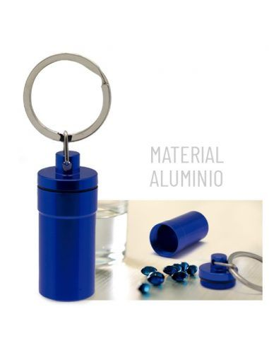 Llavero pastillero de aluminio