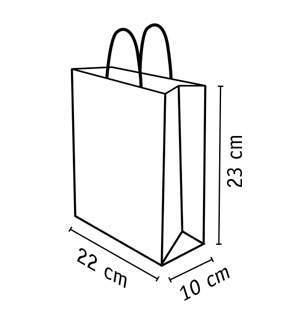 bolsa de papel kraft reciclado de 22 x 23 cm