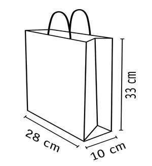 medidas debolsa de papel kraft reciclado de28 x 33 cm