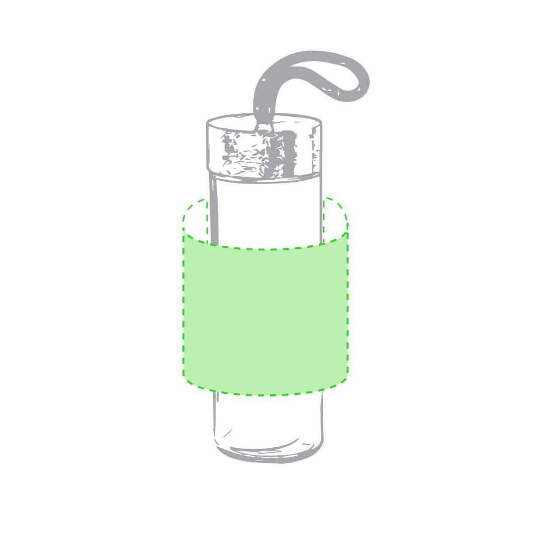 Botella de cristal con bambú y asa de cuerda 1